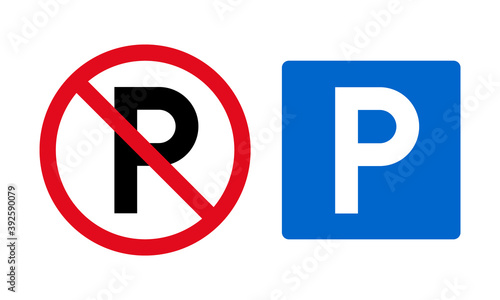 Foto Set of parking signs and vector icons