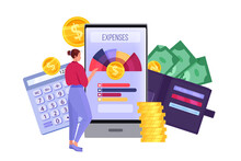 Personal Budget Planning And Monthly Expense Accounting Illustration With Smartphone, Woman, Dollars. Finance Audit And Tax Payment Concept With Coins, Wallet. Vector Budget Planning And Analysis