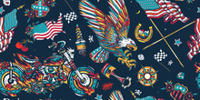Bikers Pattern. Racing Sport Art, Spark Plugs, Compass. Lifestyle Of Racers. Traditional Tattooing. American Patriotic Eagle, Moto Sport Flags, USA Maps And Chopper Motorcycle