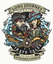 Old Sea Wolf, Pirate Girl And Ships. Marine Adventure Color T-shirt Design. Symbol Of Ocean Adventure, Treasure Island. Crime Sailor Woman Portrait. Tattoo Style. Cartoon Character