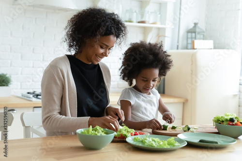 Smiling African American mother with daughter cooking salad together, chopping f Canvas