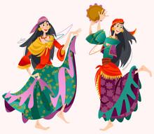 Romany Dance. Two Roma Gypsy Girls Dancing. Traditional Dance.