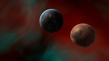 planets in space, space background, fantasy, cosmos 3d render