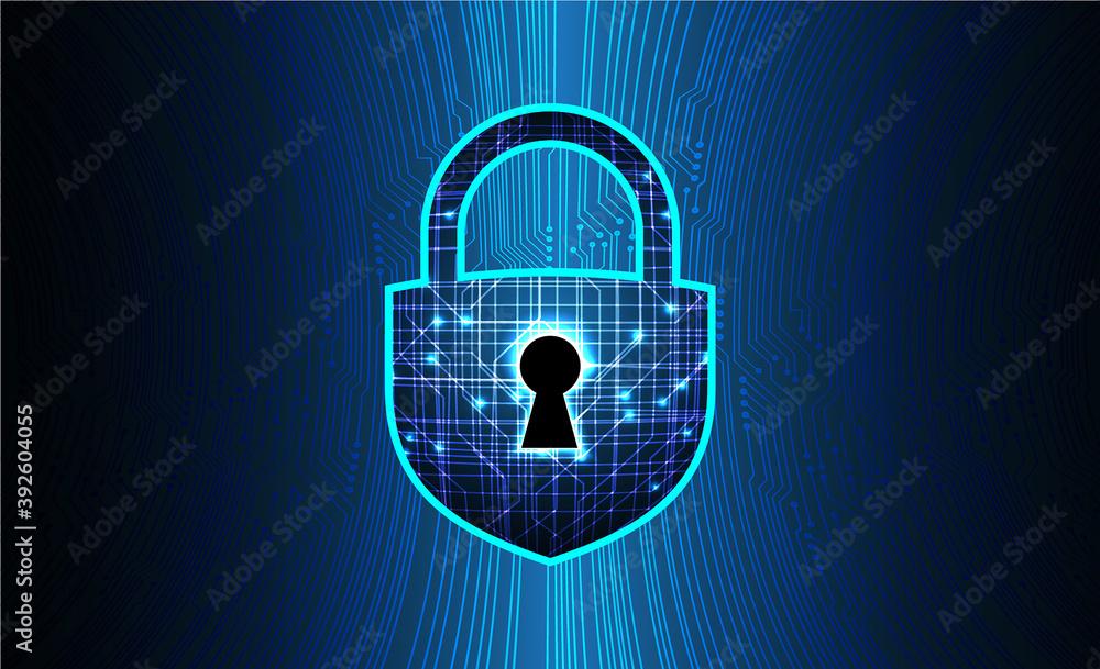 Fototapeta Closed Padlock on digital background, cyber security