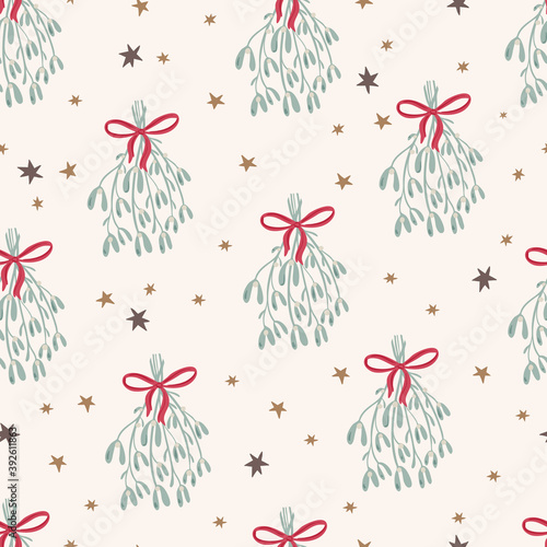 Merry Christmas seamless pattern in traditional colors with vector hand drawn mistletoe, florals, stars Fototapet
