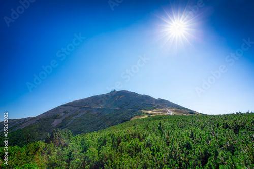 Fototapeta Beutiful landscape of the Karkonosze Mountains and Sniezka peak, Poland obraz