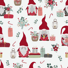 Merry Christmas Seamless Pattern In Traditional Colors With Vector Hand Drawn Christmas Gnomes Illustration. Scandinavian Christmas Repeated Background For Wrapping Paper, Fabric, Christmas Decoration