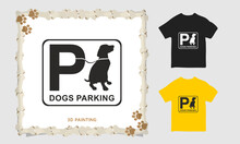 3d Dog Painting T-shirt Vector Design, Dog Parking, Irish Setter T-shirt Vintage Dog Lovers