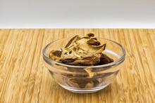 Dried Mushrooms Bay Bolete In Glass Bowl Closeup