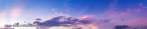 Fototapeta Dramatic panorama sky with cloud on sunrise and sunset time. Panoramic image. obraz