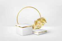 3d Realistic White Pedestal On White Background With Golden Palm Leaves. Empty Space Design Luxury Mockup Scene For Product. Vector Illustration