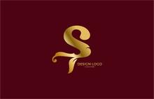 Typography Letter S Flourishes Shape Gold Logo