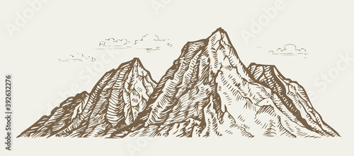 Mountain landscape. Sketch vintage vector illustration Billede på lærred