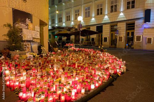 Fotografie, Obraz Beautiful candle light in viennas city center after terrorist attack