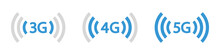 3G, 4G, 5G Vector Icon Symbols Mobile Internet Network. Connection Internet Signal Sign. Visualization Signal Quality. Vector Illustration, Eps10.
