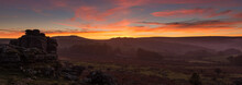A Panorama Of Hound Tor On Dartmoor With A Spectacular Sunset