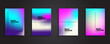 Abstract Blurred backgrounds set with bright color gradient patterns. Smooth templates collection for brochures, posters, banners, flyers and cards. Vector illustration