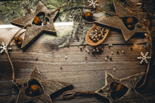 Christmas Decoration Wooden Vintage Star With A Carved Heart Inside.