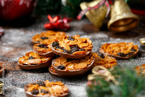 Christmas Chocolate Florentines cookies with almond and raisins with decoration, Canvas Print