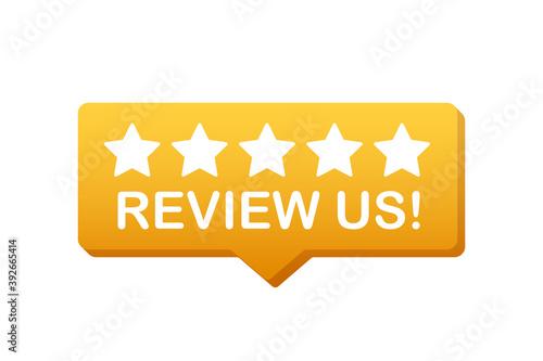 Carta da parati Review us User rating concept