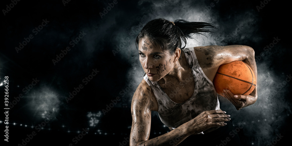 Fototapeta Handsome woman rugby player. Sports banner