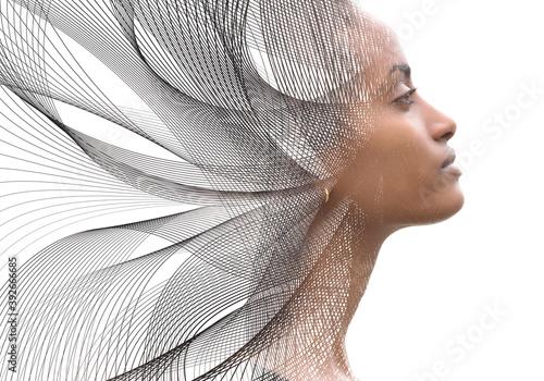 Fototapeta Portrait combined with a digital illustration obraz