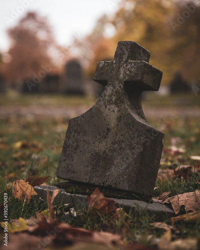 Old headstone in a cemetery. Canvas