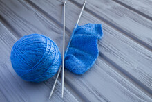 Closeup Of Blue Knitting And S...