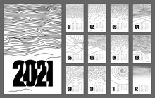 Modern Stylish Calendar Template 2021 With Abstract Weather Plots, Resembling Weather Natural Phenomena, Farm Field, Dunes, Waves, Swirl, Flying Away Birds, Puddles, Fog And Etc.