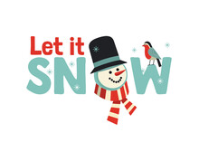 Let It Snow Snowman Cute Christmas Holiday Poster
