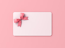 Blank White Gift Card With Pink Ribbon Bow Isolated On Pink Pastel Color Background With Shadow Minimal Concept 3D Rendering