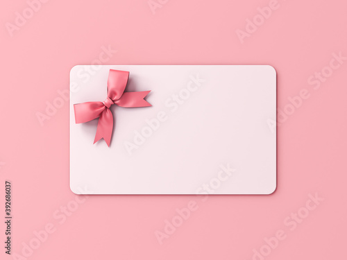 Blank white gift card with pink ribbon bow isolated on pink pastel color background with shadow minimal concept 3D rendering © masterzphotofo