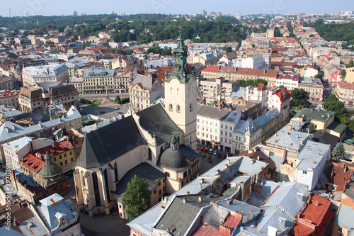 Cuadros en Lienzo View from the height of the City Hall to the ancient buildings and roofs of Lviv