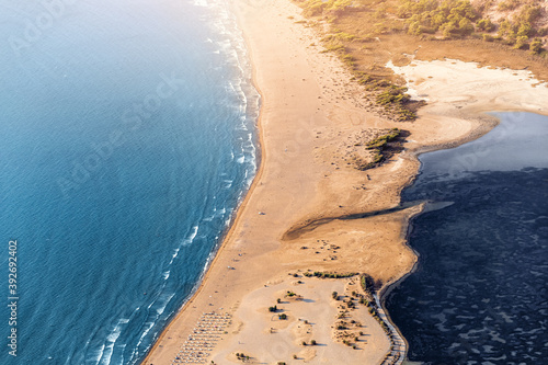 Vászonkép Scenic aerial view of Iztuzu beach and the Dalyan river Delta