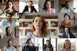 canvas print picture Focused young red-haired female employee leader holding video conference working call with happy diverse multiracial colleagues teammates, enjoying distant web brainstorming briefing meeting.