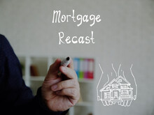Financial Concept Meaning Mortgage Recast With Inscription On The Piece Of Paper.