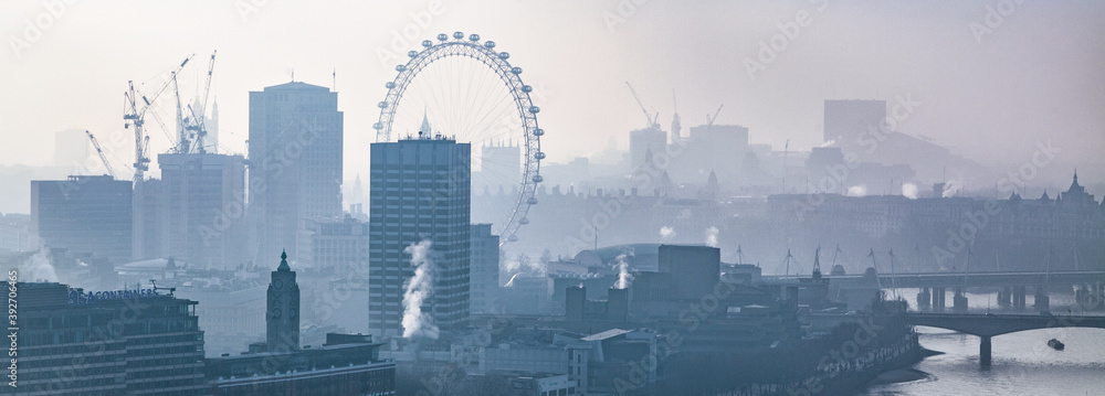 Fototapeta rooftop view over London on a foggy day from St Paul's cathedral, UK