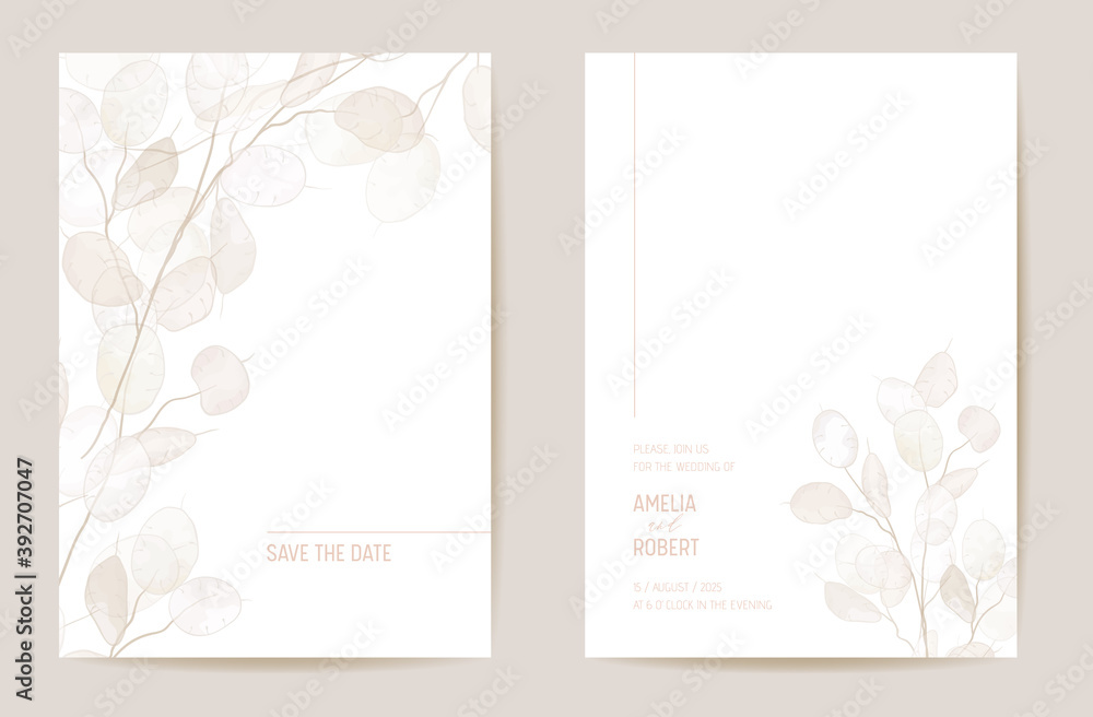 Fototapeta Minimal dried honesty flower invitation card. Wedding boho Save the Date set. Design template of dry flowers