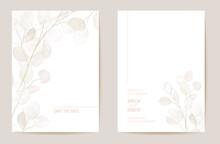 Minimal Dried Honesty Flower Invitation Card. Wedding Boho Save The Date Set. Design Template Of Dry Flowers