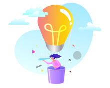 Woman Flying In The Sky On Hot Air Balloon And Planning Ahead. Looking Through Spyglass. Idea Concept. Vector Illustration.