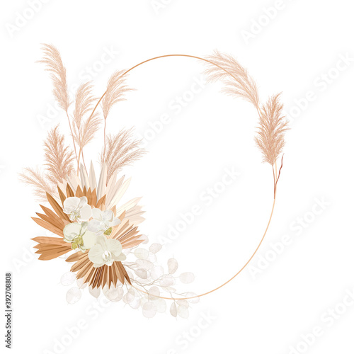 Fototapeta Wedding dried lunaria, orchid, pampas grass floral wreath. Vector Exotic dried flowers, palm leaves boho obraz