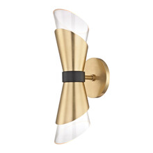 Small 2 Light Ambient Wall Sconce Isolated On White. Chandelier Lighting. Modern Electric Light Fixture With Glass Cone Shade Vintage LED Bulb Brushed Brass. Interior Electrical Decoration Light