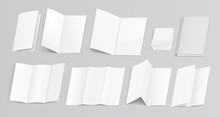 Set Of Realistic Paper Brochures And Booklets, Mock Up Of Two And Trifold Template Cards