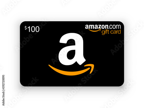 Kiev, Ukraine - November 15, 2020: Gift card Amazon. Black Amazon gift card with shadow isolated. Editorial vector