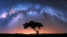 Alone Tree And Milky Way Arch At Night. Landscape With Old Tree, Bright Arched Milky Way, Sky With Stars, Hills At Sunrise. Beautiful Universe. Space Background With Starry Sky. Galaxy And Nature