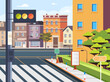 City town crosswalk pedestrian street zebra concept. Vector flat cartoon graphic design illustration