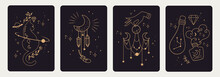 Set Of Mystical Templates For Tarot Cards, Banners, Flyers, Posters, Brochures, Stickers. Hand-drawn. Cards With Esoteric Symbols. Witchcraft. Silhouette Of Hands, Planets, Moon Phases And Crystals.