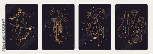 Fototapeta Set of mystical templates for tarot cards, banners, flyers, posters, brochures, stickers. Hand-drawn. Cards with esoteric symbols. Witchcraft. Silhouette of hands, planets, moon phases and crystals.  obraz
