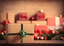 Big Christmas Gift Box On Fore...