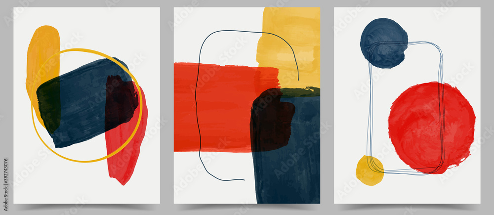 Fototapeta Vector illustration. Abstract contemporary aesthetic backgrounds. Design for cover, poster, postcard, card, flyer, brochure, frame. Wall decor. Modern art print. Watercolor painting. Hand painted
